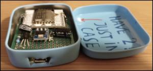 Вид спереди на термометр на базе esp8266 с wifi в корпусе